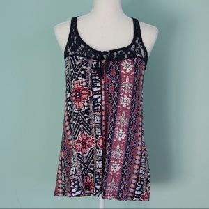 EUC Warehouse One Patterned Tank with Lace